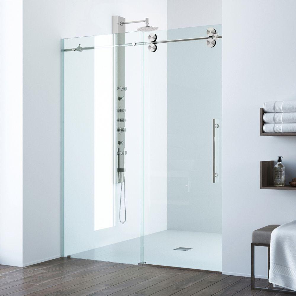 Paroi de douche sans cadre transparente et en acier inoxydable, 64 pouces, verre 3/8 pouces