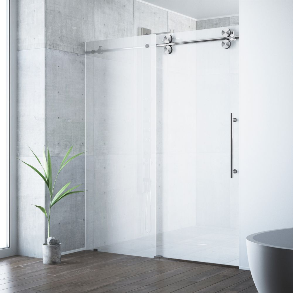 Frosted and Stainless Steel Frameless Shower Door 60 Inch 3/8 Inch glass