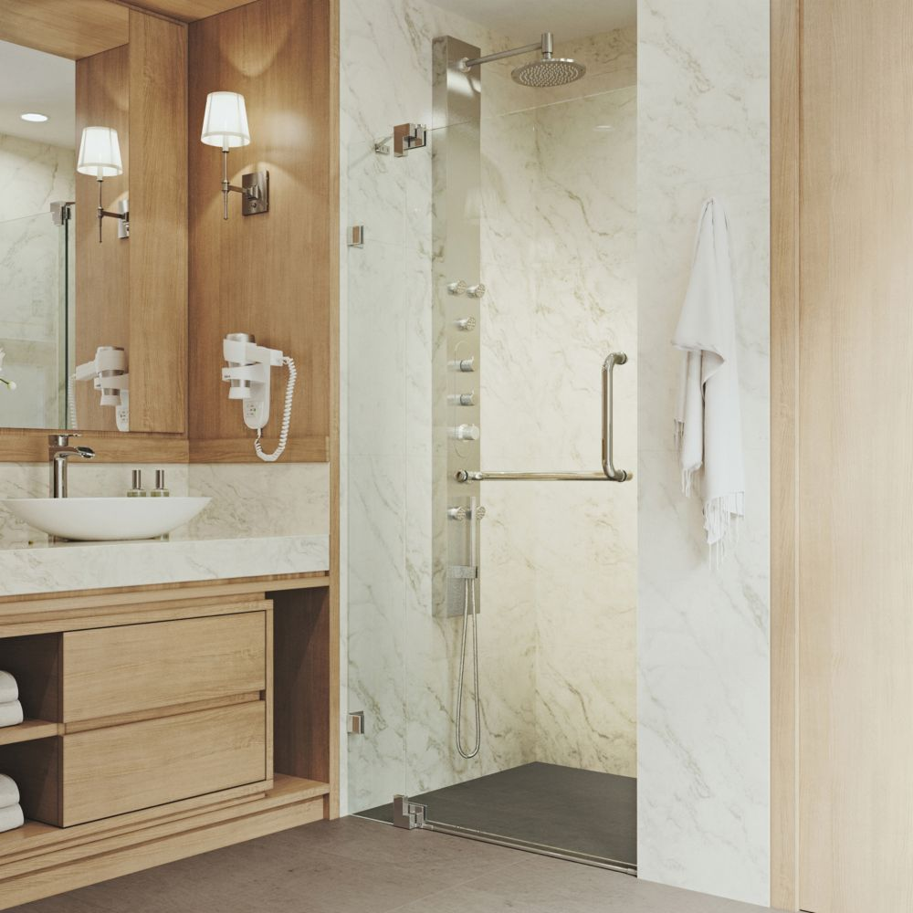 Clear and Brushed Nickel Frameless Shower Door 42 Inch 3/8 Inch glass