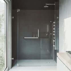 VIGO Pirouette 42 to 48 inch x 72 inch Frameless Pivot Shower Door in Chrome with Clear Glass and Handle