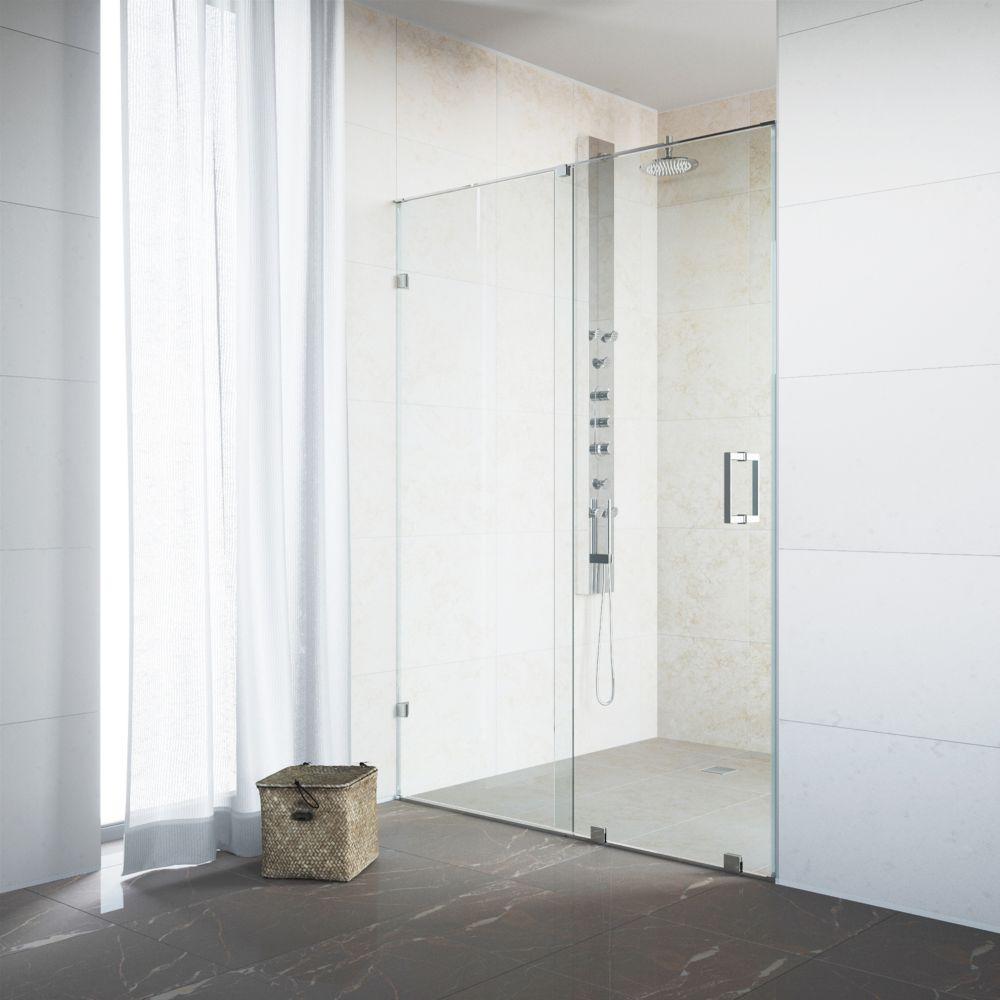 Paroi de douche sans cadre transparente et en chrome, 62 pouces, verre 3/8 pouces
