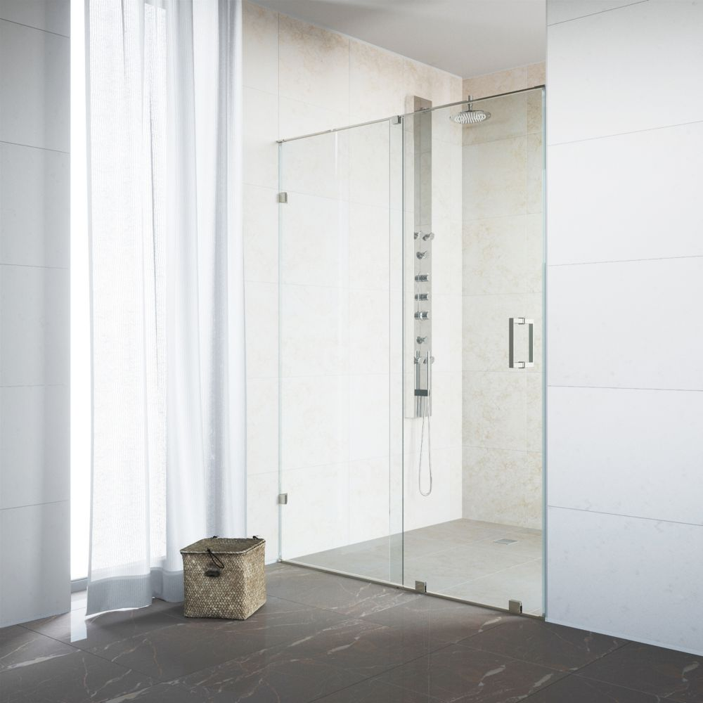 Stainless Steel and Clear Frameless Shower Door 64 Inch 3/8 Inch glass