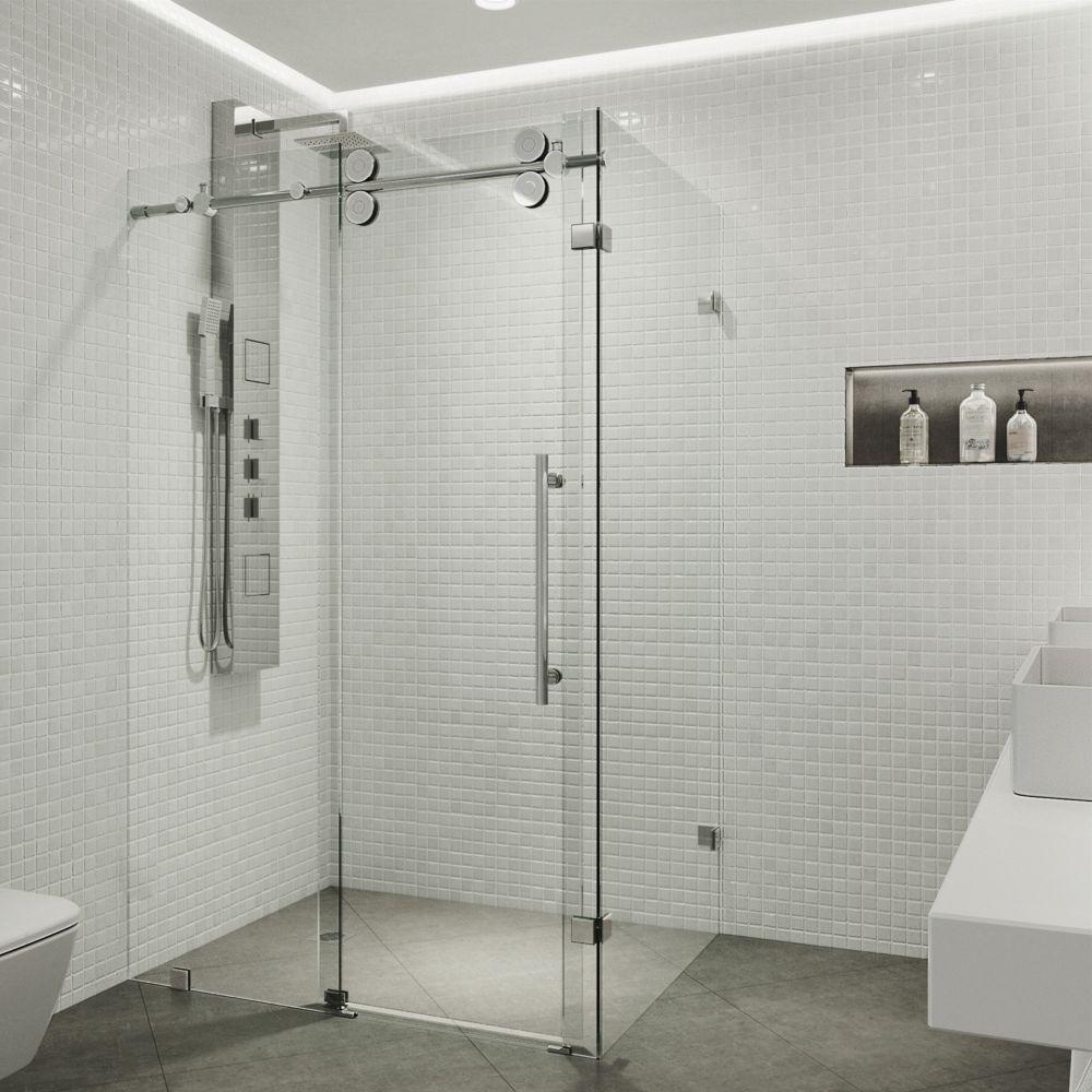 Paroi de douche sans cadre  transparente et en chrome, 36 pouces x 48 pouces, verre 3/8 pouces