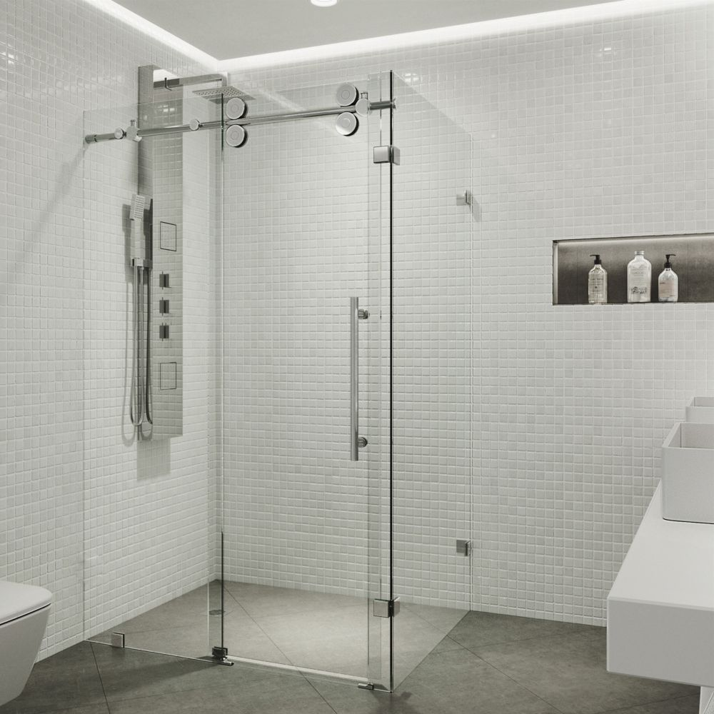 VIGO 36-Inch  x 60-Inch  Frameless Shower Stall in Clear with Chrome