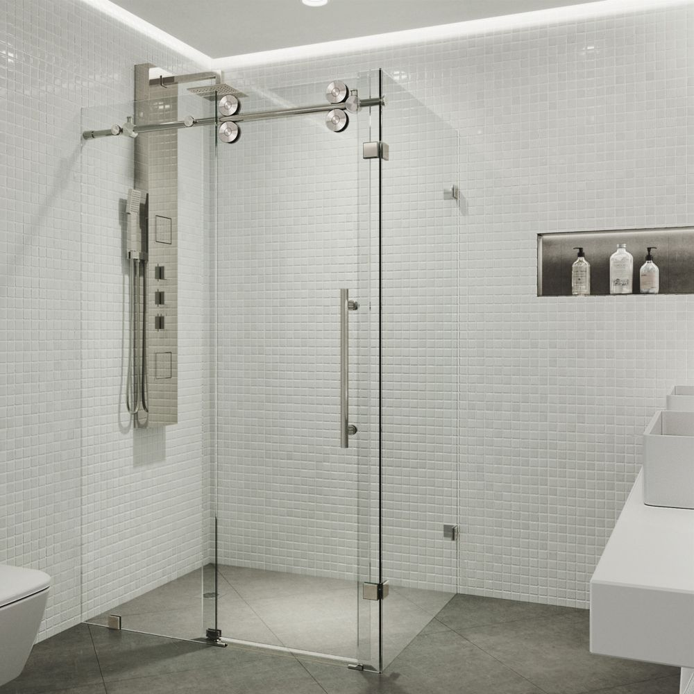 VIGO 36-Inch  x 48-Inch  Frameless Shower Stall in Clear with Stainless Steel