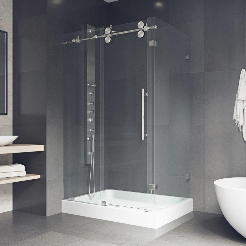 Paroi de douche sans cadre, base gauche, transparente et en acier inoxydable, 36 pouces x 48 pouc...