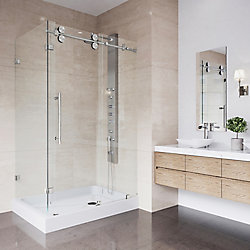 VIGO Winslow 48.13 in x 79.88 inch Frameless Bypass Shower Enclosure in Stainless Steel and Clear Glass with Right Base