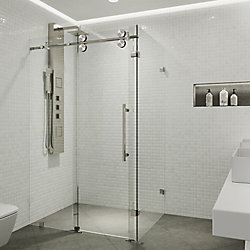 VIGO Winslow 57.75 inch x 74 inch Frameless Corner Bypass Shower Enclosure in Stainless Steel with Clear Glass