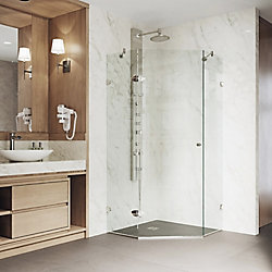 VIGO Verona 34.125 inch x 73.375 inch Frameless Neo-Angle Hinged Corner Shower Enclosure in Brushed Nickel with Clear Glass