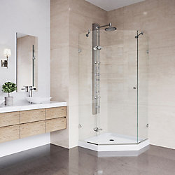 VIGO Verona 36.125 inch x 76.75 inch Frameless Neo-Angle Shower Door in Brushed Nickel with Clear Glass and Low Profile Base