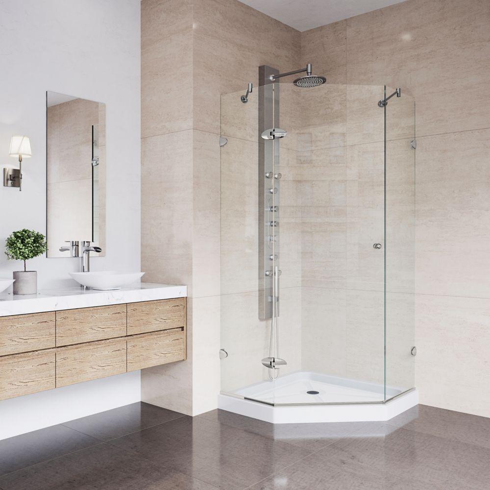 Paroi de douche sans cadre néo-angulaire,base,transparente en nickel brossé 40 pouces x 40 pouces