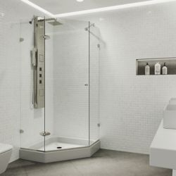 VIGO 42 inch x 78 inch Frameless Neo-Angle Shower Enclosure in Brushed Nickel with Clear Glass and Base
