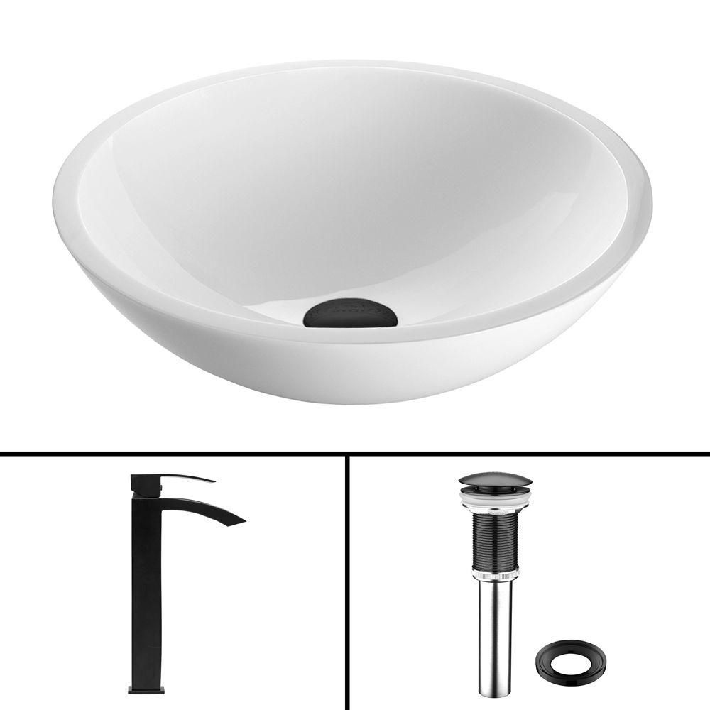 Flat Edged Stone Vessel Sink in White Phoenix with Duris Faucet in Matte Black