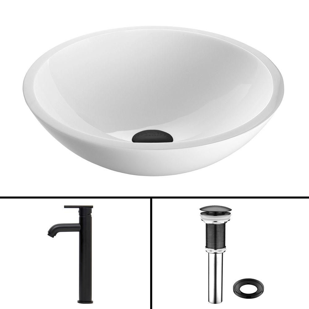 Flat Edged Stone Vessel Sink in White Phoenix with Seville Faucet in Matte Black