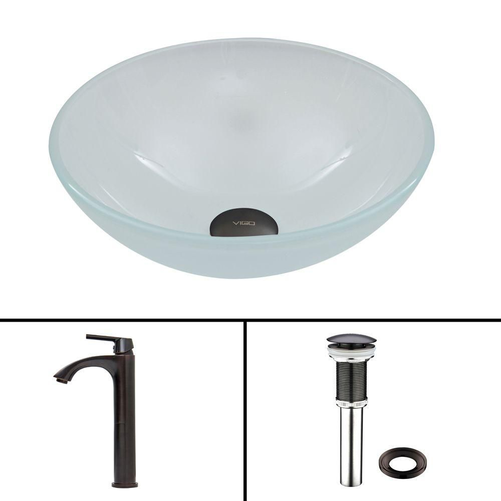 Flat Edged Stone Vessel Sink in White Phoenix with Linus Faucet in Antique Rubbed Bronze