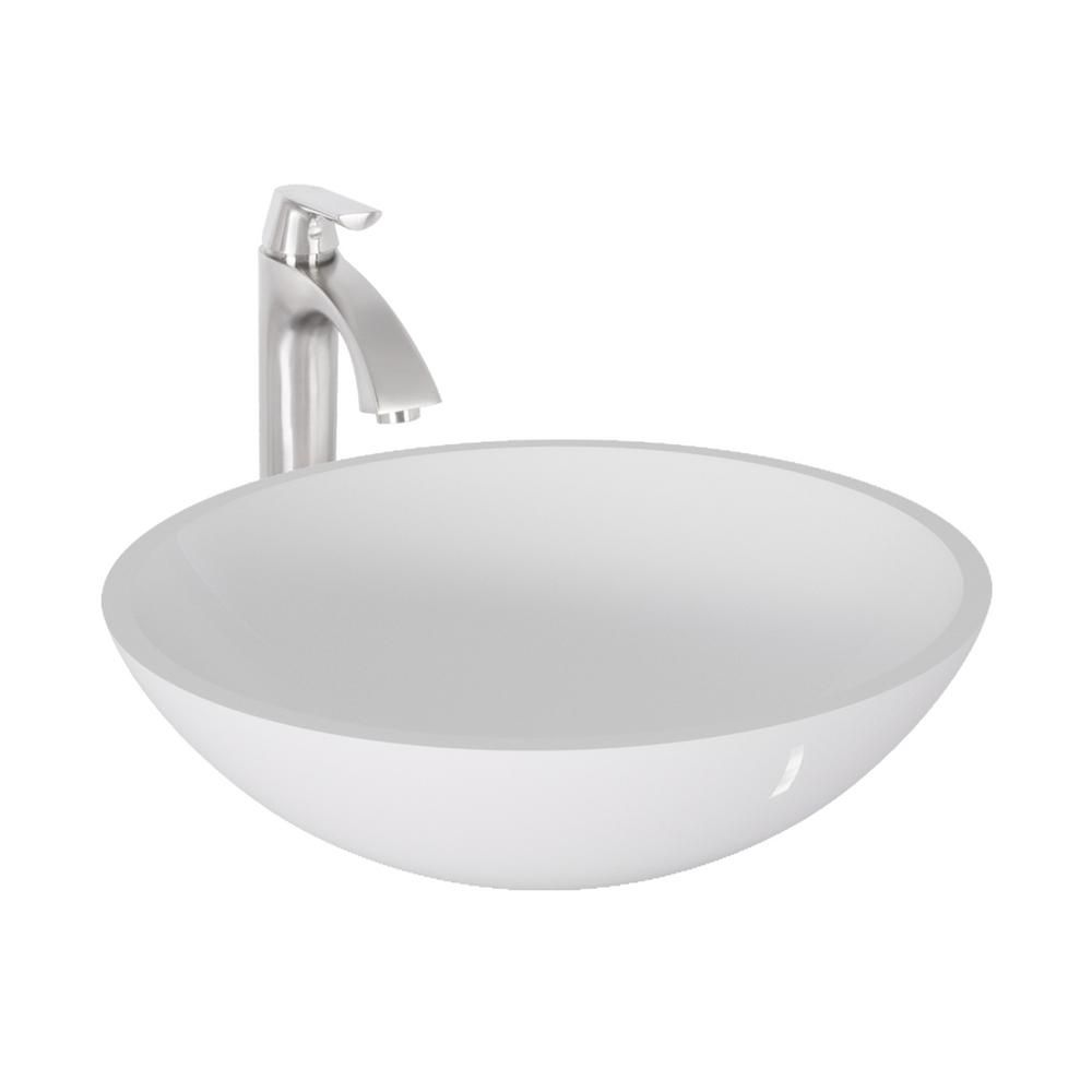 Flat Edged Stone Vessel Sink in White Phoenix with Linus Faucet in Brushed Nickel