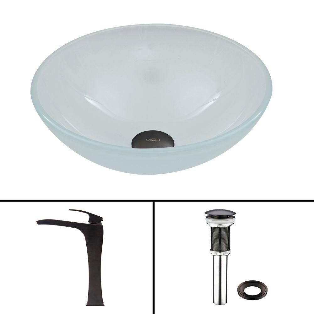 Flat Edged Stone Vessel Sink in White Phoenix with Blackstonian Faucet in Antique Rubbed Bronze