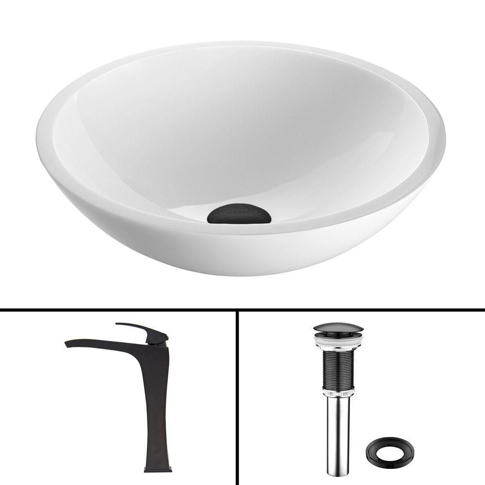 Flat Edged Stone Vessel Sink in White Phoenix with Blackstonian Faucet in Matte Black