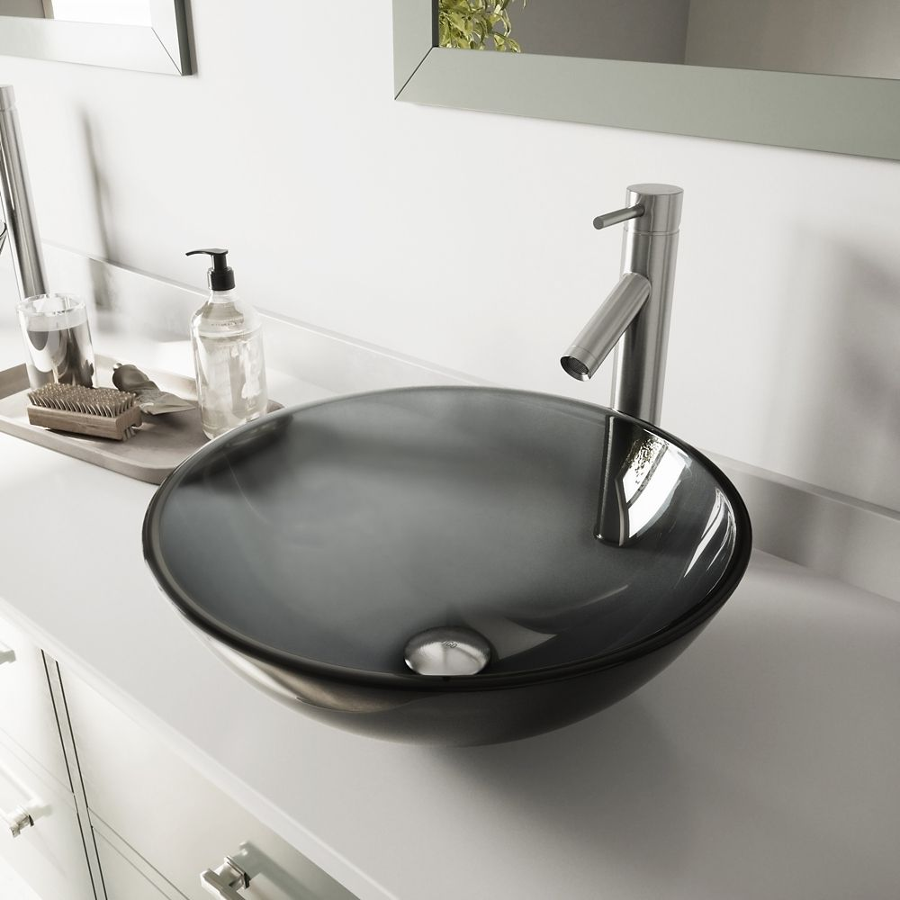 Glass Vessel Sink in Sheer Black with Dior Faucet in Brushed Nickel