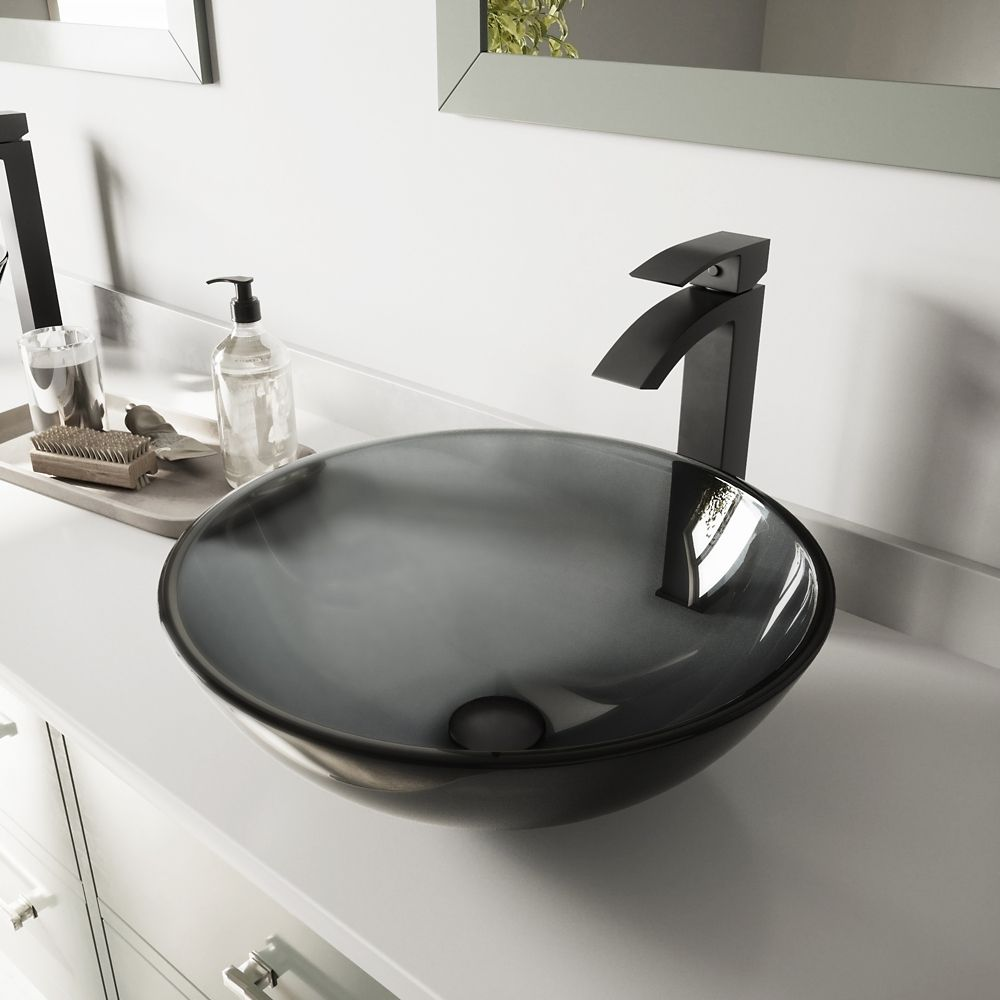 Glass Vessel Sink in Sheer Black with Duris Faucet in Matte Black