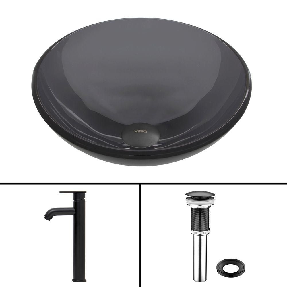 Glass Vessel Sink in Sheer Black with Seville Faucet in Matte Black