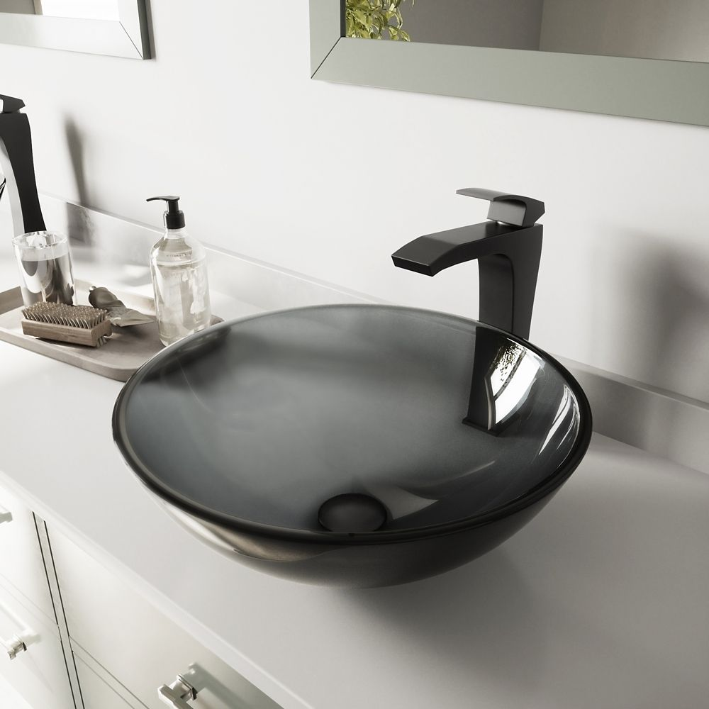 Glass Vessel Sink in Sheer Black with Blackstonian Faucet in Matte Black