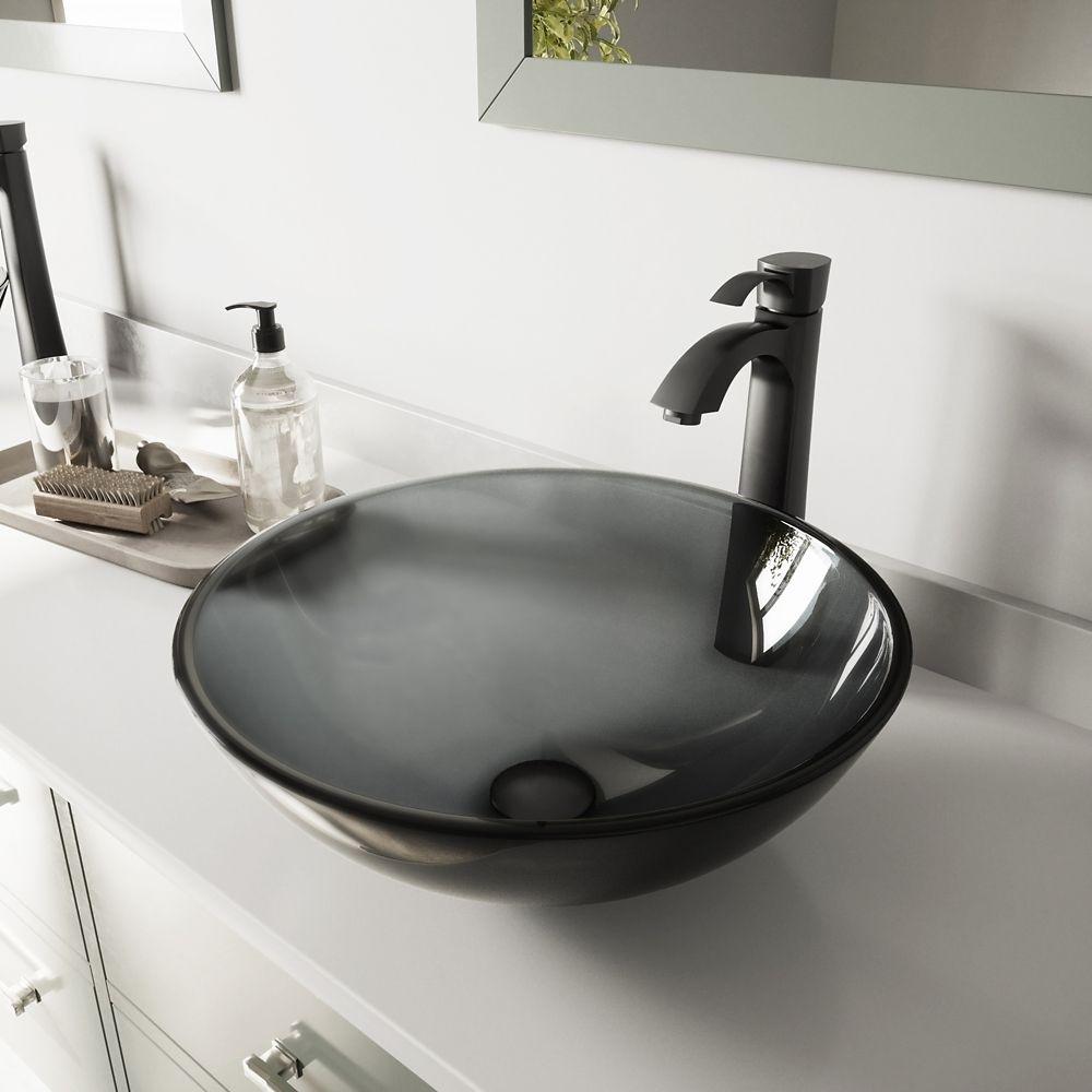 Glass Vessel Sink in Sheer Black with Otis Faucet in Matte Black