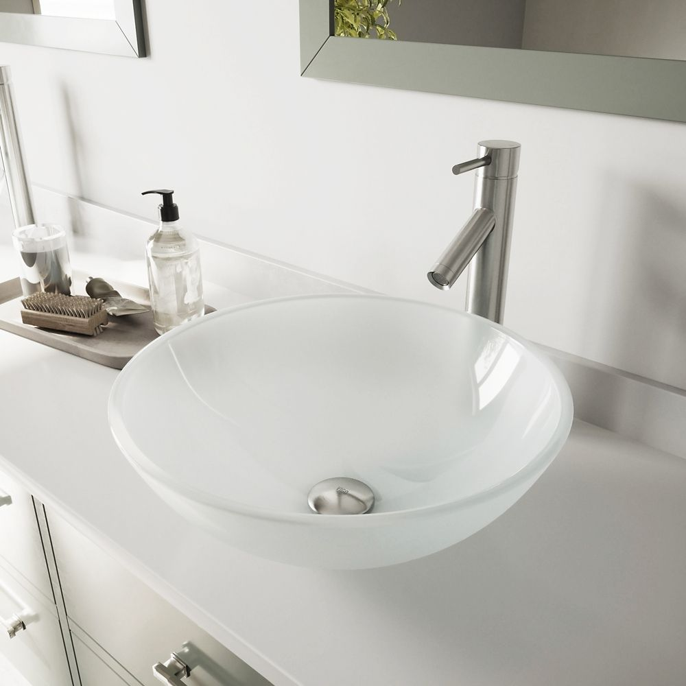 Glass Vessel Sink in White Frost with Dior Faucet in Brushed Nickel