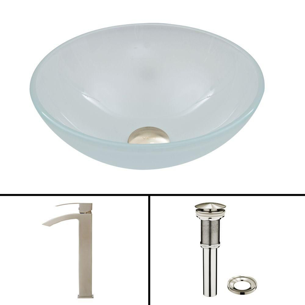 Glass Vessel Sink in White Frost with Duris Faucet in Brushed Nickel