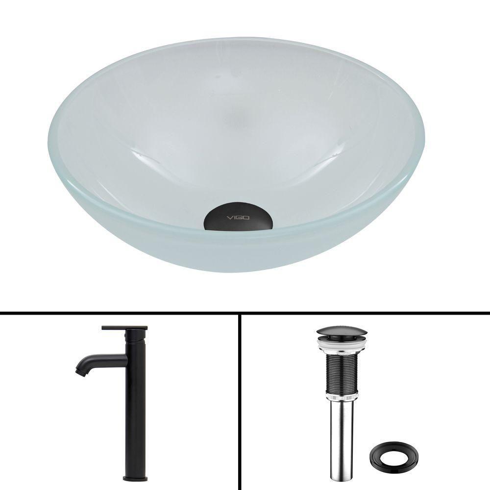 Vigo Glass Vessel Sink in White Frost with Seville Faucet in Matte Black