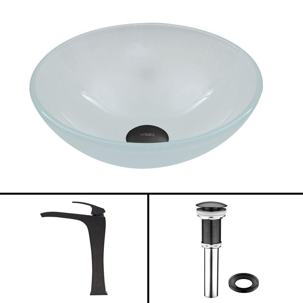 Glass Vessel Sink in White Frost with Blackstonian Faucet in Matte Black