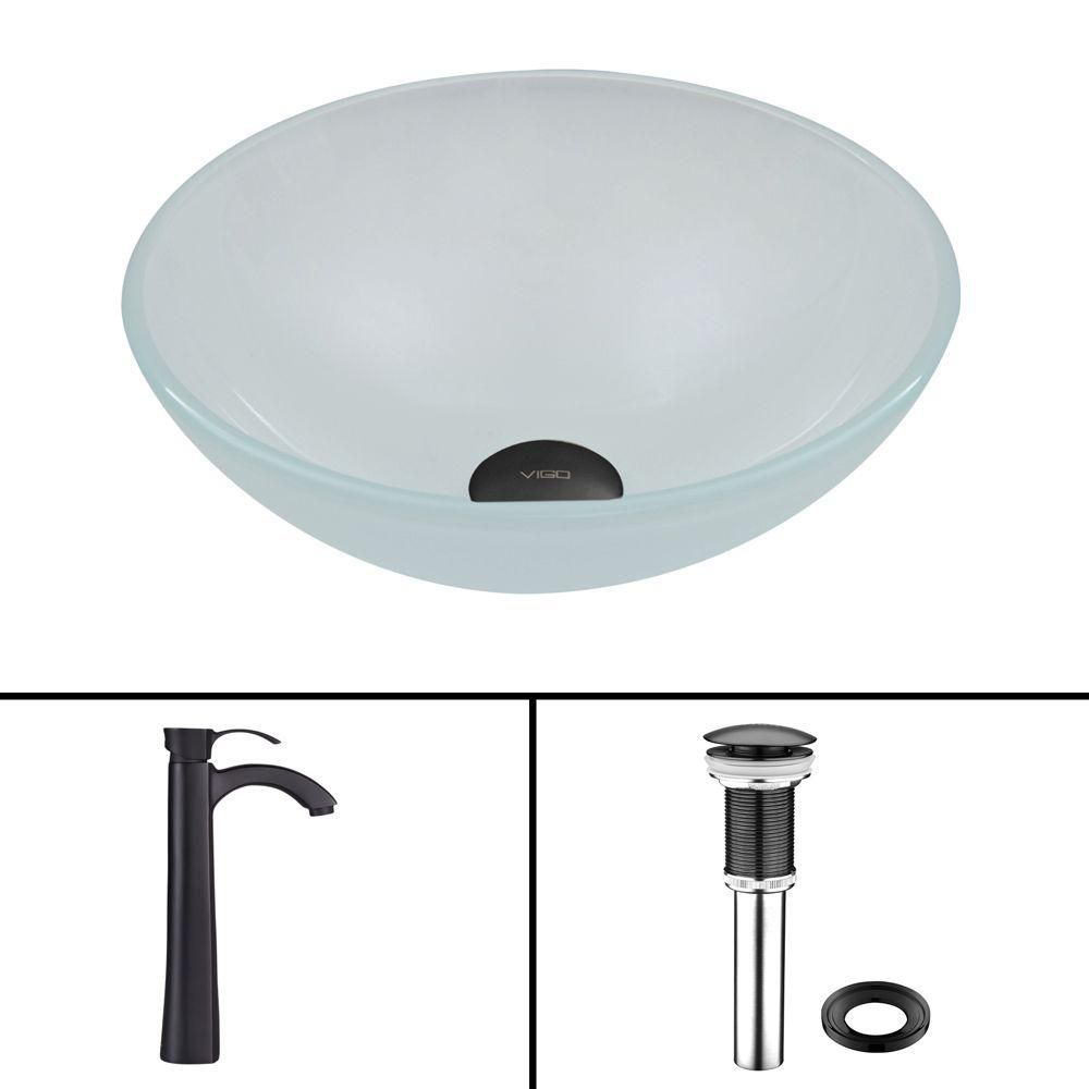 Glass Vessel Sink in White Frost with Otis Faucet in Matte Black