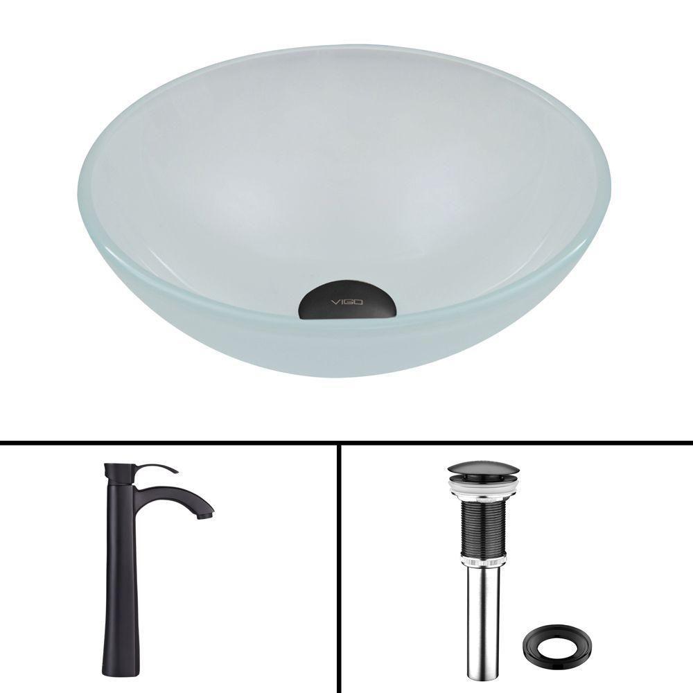 Vigo Glass Vessel Sink in White Frost with Otis Faucet in Matte Black