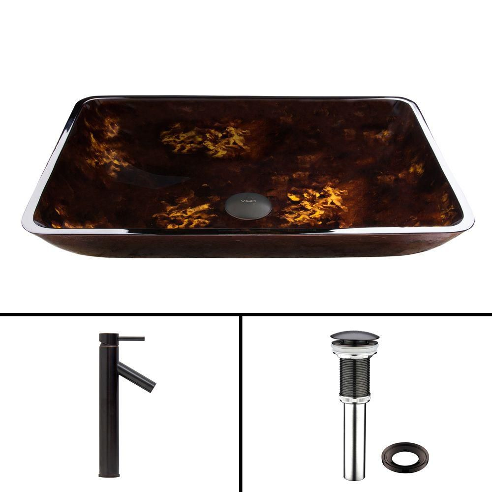 Rectangular Glass Vessel Sink in Brown and Gold Fusion with Dior Faucet in Antique Rubbed Bronze