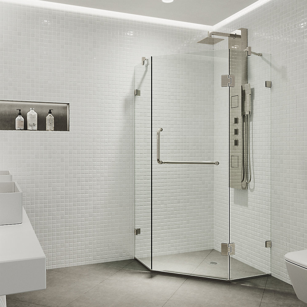 Piedmont 36.125 inch x 73.375 inch Frameless Neo-Angle Hinged Corner Shower Enclosure in Brushed Nickel with Clear Glass