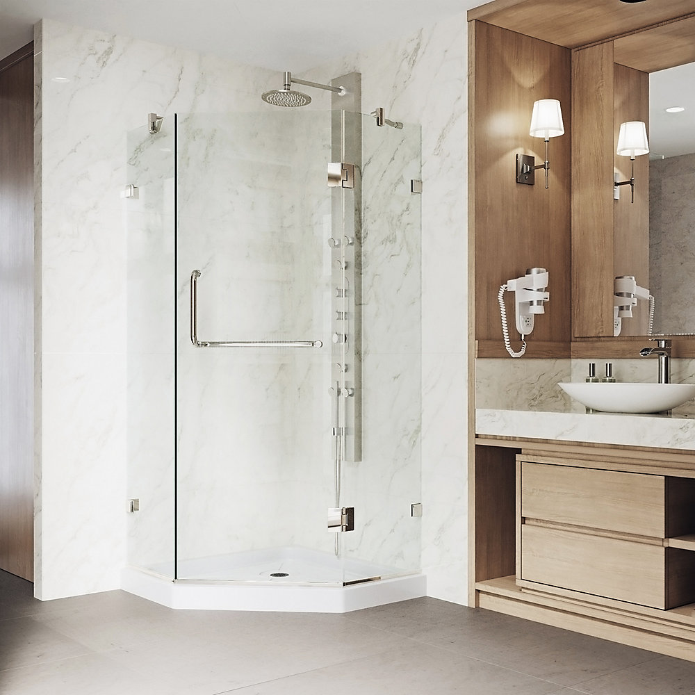 Piedmont 40.25 inch x 76.75 inch Frameless Neo Angle Shower Door in Brushed Nickel with Clear Glass and Low Profile Base