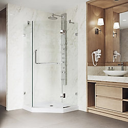 VIGO Piedmont 36.125 inch x 76.75 inch Frameless Neo-Angle Shower Door in Chrome with Clear Glass and Low Profile Base