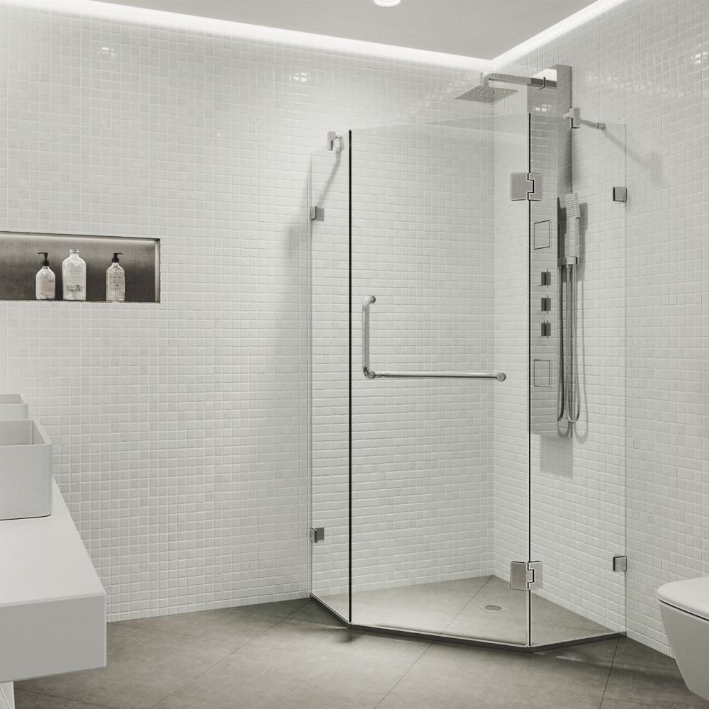 Clear and Chrome Frameless Neo-Angle Shower Enclosure 38 inch by 38 inch 3/8 inch glass VG6062CHCL38 Canada Discount