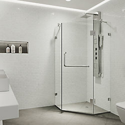 VIGO Piedmont 36.125 inch x 73.375 inch Frameless Neo-Angle Hinged Corner Shower Enclosure in Chrome with Clear Glass