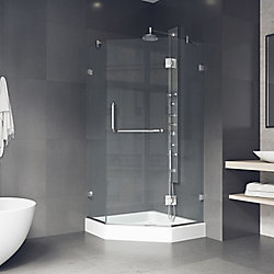 VIGO Piedmont 40.25 inch x 78.75 inch Frameless Neo-Angle Shower Enclosure in Chrome and Clear Glass with Base in White