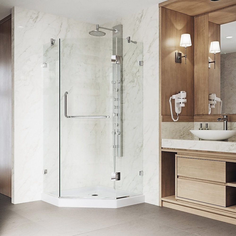 Piedmont 40.25 inch x 76.75 inch Frameless Neo-Angle Hinged Corner Shower Enclosure in Chrome with Clear Glass and Base