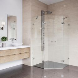 VIGO Gemini 45.625 inch x 73.375 inch Frameless Neo-Angle Shower Enclosure in Brushed Nickel with Clear Glass