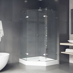 VIGO Gemini 47.625 inch x 78.75 inch Frameless Neo-Angle Shower Enclosure in Brushed Nickel with Clear Glass and Base