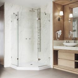 VIGO Gemini 47.625 inch x 76.75 inch Neo-Angle Shower Enclosure in Brushed Nickel with Clear Glass and Low-Profile Base