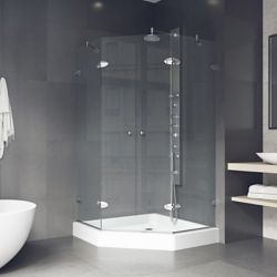 VIGO Gemini 42.125 inch x 78.75 inch Frameless Neo-Angle Shower Enclosure in Chrome with Clear Glass with Base in White