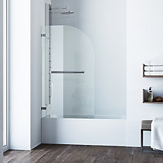 Clear and Chrome Orion Clear Curved Bathtub Door 34 inch by 58 inch 5/16 inch glass