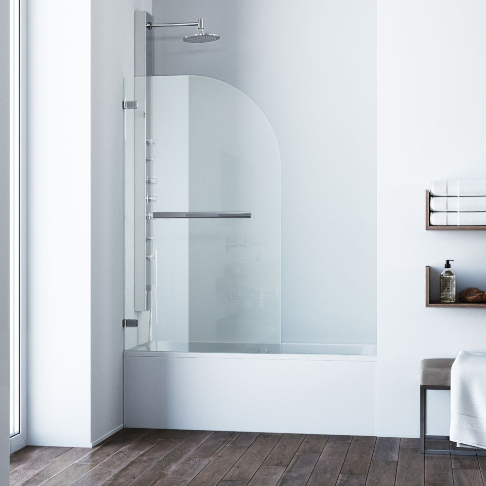Vigo Clear and Chrome Orion Clear Curved Bathtub Door 34 inch by 58 inch 5/16 inch glass