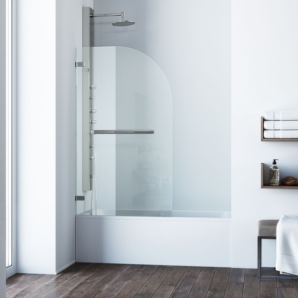 Stainless Steel Clear Orion Clear Curved Bathtub Door 34 inch by 58 inch 5/16 inch glass