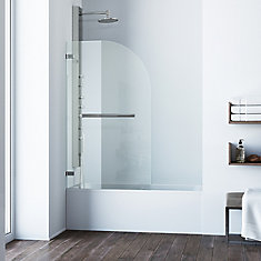 Orion 34-inch x 58 5/16-inch Rounded Rectangular Frameless Fixed Clear Glass Tub Door