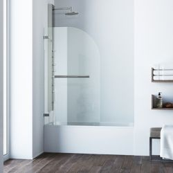 VIGO Orion 34 inch x 58 inch Frameless Hinged Tub Door in Stainless Steel with Clear Glass